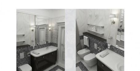 Черно-белая классика.Проект ванной комнаты