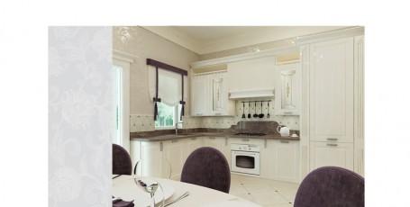 Проект классического интерьера  холла и кухни с островом